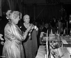 UNITED KINGDOM - OCTOBER 25: The British writer Agatha CHRISTIE at the London Savoy Hotel participating to a party given to celebrate the 10th anniversary of a theatre play she wrote, THE MOUSETRAP