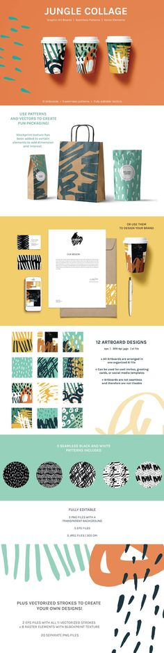 Jungle Collage | Seamless Patterns and Artboards for Packaging by Statement Goods #design #packaging #art #pattern