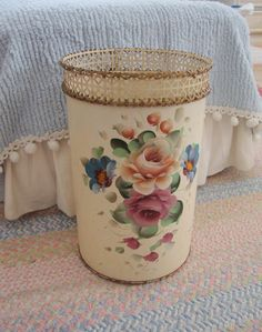 ROSES TOLE WASTEBASKET - Cream Floral - Reticulated - Shabby Painted Chic. $55.00, via Etsy.