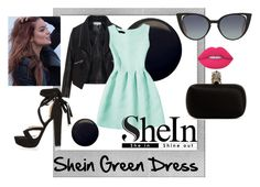 """""""Shein Green Dress"""" by juultje-1177 ❤ liked on Polyvore featuring Polaroid, Zizzi, Topshop, Alexander McQueen, Fendi and Lime Crime"""