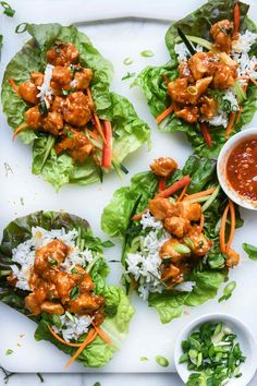 Home Made Doggy Foodstuff FAQ's And Ideas Instant Pot Orange Chicken Lettuce Wraps On Lettuce Wrap Recipes, Chicken Lettuce Wraps, Ip Chicken, Asian Chicken, Raw Food Recipes, Healthy Recipes, Dinner Recipes, Healthy Food, Salads