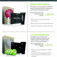 The holiday packs are here!!! How exciting!!! Merry clean and bright has cleanser exfoliating peel and facial wraps! Or you can get the Yule tighten greeting which had a box of wraps defining gel and the fab wrap!! Get them while supplies last!!! Message me for more info!!