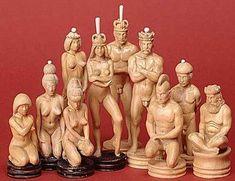 Echecs et Art: la galerie d'art russe d'Oleg Raïkis Pièces d'échecs en ivoire de mammouth et buis