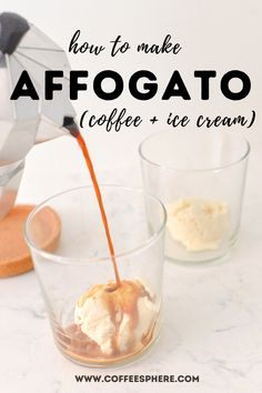 The word affogato is Italian for drowned. The affogato coffee drink was named affogato because it consists of a scoop of vanilla gelato 'drowned' in a shot of espresso. That's it! Pour an ounce of espresso over a scoop of ice cream and you have a treat to quickly satisfy anyone with a sweet tooth or anyone who needs a boost of caffeine in the middle of the day. Coffee Shot, Coffee Drinks, Coffee Shop Names, Affogato, Espresso Shot, Coffee Ice Cream, Italian Coffee, Fika, Homemade Ice Cream