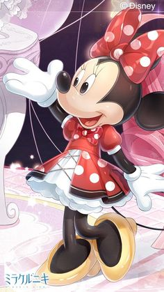 Minnie is happy rocking her red dots dress she showing all her friends in telling them how she work on it Arte Do Mickey Mouse, Minnie Mouse Pictures, Mickey Mouse Images, Mickey Mouse And Friends, Disney Mickey Mouse, Mickey Mouse Wallpaper, Cute Disney Wallpaper, Cute Cartoon Wallpapers, Walt Disney Co