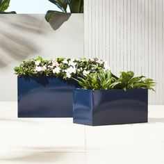Shop blox hi-gloss low navy planters. Navy planter squares up sleek and modern. Protected for indoor and outdoor settings, hi-gloss lacquered galvanized steel plays up refined industrial to dramatic effect.