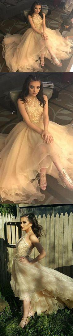 Long prom dress, champagne prom dress, halter prom dress, high low prom dress, beaded prom dress, popular prom dress, PD15367 #prom #promdress #longpromdress