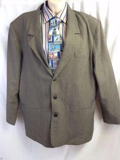 SHARP Sport Coat Large Houndstooth 3 Button Lined Mens Blazer Jacket Made in USA #Sharp #ThreeButton