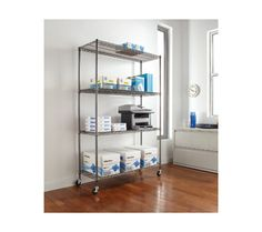Alera Complete Wire Shelving Unit with Casters
