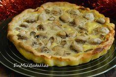 Tarta salada de ave y champiñones http://enmilbatallas.com/2014/12/16/tarta-salada-de-ave-y-champinones/