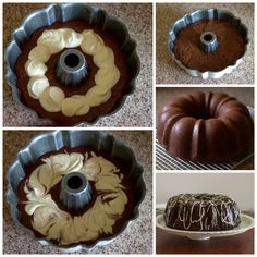 Chocolate Bundt Cake with a Cream Cheese Swirl Recipe from Barbara Bakes. A moist, chocolate sour cream bundt cake covered in a rich chocolate ganachewith a Sweet Recipes, Cake Recipes, Dessert Recipes, Cupcakes, Cupcake Cakes, Mousse, Chocolate Bundt Cake, Chocolate Ganache, Chocolate Cheesecake