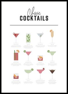 Classic Cocktail Guide Poster in the group Prints / Kitchen at Desenio AB Kitchen Posters, Kitchen Prints, But First Coffee, Quote Posters, Quote Prints, Buy Posters, Online Posters, Bon Appetit, Malta