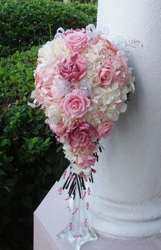 WEDDING Bouquet CASCADE Preserved Flowers Bridal by LizAnnFlorals, $320.00
