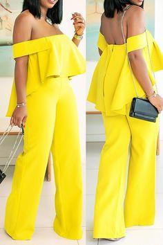 Falbala Full Length Plain Western Slim Women's Jumpsuit Elegant jumpsuits for women. Elegante Jumpsuits, Jumpsuit Elegante, Yellow Jumpsuit, Jumpsuit Outfit, Cream Jumpsuit, African Wear Dresses, Latest African Fashion Dresses, Yellow Fashion, Suit Fashion