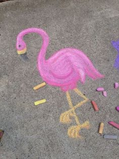 Flamingo-Liebe, bunte Kreidekunst - just out Chalk Design, Colored Chalk, Arte Sketchbook, Sidewalk Chalk Art, Chalk It Up, 3d Chalk Art, Chalk Wall, Chalkboard Art, Art Plastique