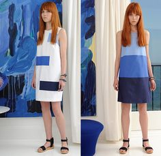 Lisa Perry 2016 Resort Cruise Pre-Spring Womens Lookbook Presentation - Pseudo Denim Look Mod 1960s Sixties Monochromatic Maxi A-Line Shift Dress Stripes Patchwork Cropped Wide Leg Trousers Palazzo Pants Sandals Knit Sweater Jumper Skirt Frock Cargo Pockets Pompoms Colorblock Metallic Geometric Outerwear Coat Turtleneck Spring Fashion, Fashion Show, Fashion Looks, Cropped Wide Leg Trousers, Catwalk Collection, Palazzo Pants, Autumn Summer, Spring 2016, Looking For Women