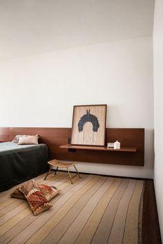 Contemporary minimal warm American bedroom