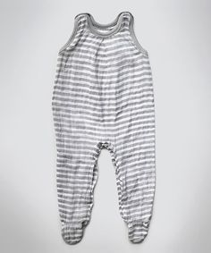 Take a look at this Gray Stripe Muslin Sleeveless Footie by Layered Cake on #zulily today!