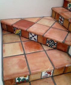 Get Saltillo Tile right from the source - Rustico Tile and Stone. We ship worldwide and offer discount prices for handmade Saltillo floor tile. Spanish Style Homes, Spanish Revival, Spanish Colonial, Basement Remodel Diy, Tile Stairs, Terracotta Floor, Turkish Tiles, Portuguese Tiles, Backyard Ideas