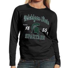 Michigan State Spartans Ladies Long Sleeve Tissue T-Shirt - Black