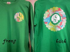 Super cute LONG sleeve t-shirt with Lilly Pulitzer monogram on the front, Lilly Pulitzer scalloped appliqué on the back, and a vinyl monogram