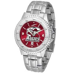 """New Mexico State Aggies NCAA Anochrome """"Competitor"""" Mens Watch (Steel Band) by SunTime. $93.99. Color Coordinated. Rotating Bezel. Calendar Date Function. Showcase the hottest design in watches today! The functional rotating bezel is color-coordinated to compliment your favorite team logo. The Competitor Steel utilizes an attractive and secure stainless steel band. The AnoChrome dial option increases the visual impact of any watch with a stunning radial reflection similar to t..."""
