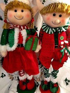 Niño Niña Elf Extensible piernas Elf greeters Ventana Porche Decoración árbol De Navidad S/2