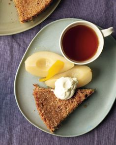 Almond Torte with Pears and Whipped Cream. This flourless cake is incredibly light and moist. If you dont have a corer, use a teaspoon-size measuring spoon to core the pears. Gluten Free Thanksgiving, Thanksgiving Desserts, Italian Thanksgiving, Thanksgiving Ideas, Holiday Desserts, Holiday Recipes, Cheesecakes, Gluten Free Desserts, Dessert Recipes