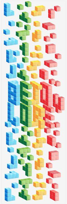 geek, gamers, tipo, tipografia, tetris.