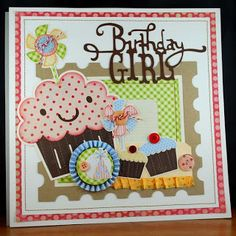 Cricut Cartridges used are:  Create a Critter-giant cupcake, postage,pinwheels and birthday hat  A Child's Year-small cupcakes  Storybook-Title