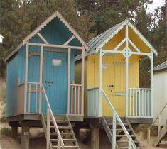 Beach huts for sale. Garden buildings, shepherds huts and furniture custom made. James Ward beach huts made in Norfolk U. Beach Huts For Sale, Home Gym Flooring, James Ward, Uk Beaches, Tiny House Blog, House On Stilts, Beach Shack, Surf Shack, Seaside Beach