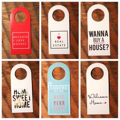 "We can think of a million ways to use these cute bottle neck tags! Here's a few ideas: - On water bottles at an open house - When you go to a party with a ""Wanna Buy a House"" tag, everyone will know t"