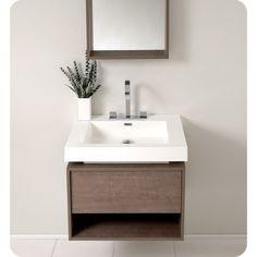 Fresca Potenza Gray Oak Modern Bathroom Vanity Pop Open Drawer