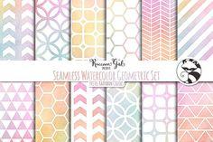 Seamless Watercolor Geometrics pr by RaccoonGirl Design on @creativemarket