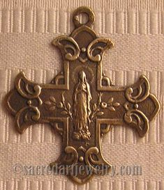 Scapular Cross Medal - Sterling Silver or True Bronze Religious Replica - Vintage Catholic Pendant #053
