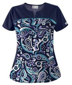 UA Paisley Showers Dark Lilac Print Scrub Top Style # UA678PDL #uniformadvantage #uascrubs #adayinscrubs #scrubs #printscrubs