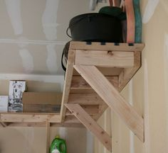 diy overhead garage storage 3 Garage, ideas, man cave, workshop, organization, organize, home, house, indoor, storage, woodwork, design, tool, mechanic, auto, shelving, car.