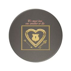 Gold heart with arrows and locks for love coaster - valentines day gifts love couple diy personalize for her for him girlfriend boyfriend