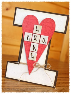Super clever valentine card in the shape of an I with a heart and scrabble tile-built words Diy Arts And Crafts, Paper Crafts, Diy Crafts, Wedding Anniversary Cards, Wedding Cards, Scrabble Cards, Valentine Crafts, Valentines, Creative Cards