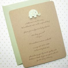 elephant baby shower invitation, gender neutral,100% recycled kraft on Etsy, $18.00 So simple yet incredibly cute