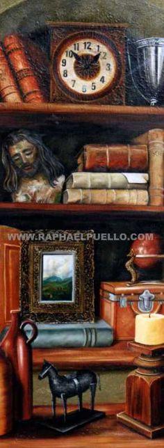 LA BIBLIOTECA.{ DETALLE } WWW.RAPHAELPUELLO.COM/OLEO/NATURALEZAS MUERTAS/ANAQUELES
