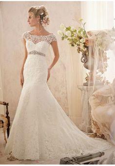 Lace Off-the-shoulder A-line Elegant Wedding Dress - Bride - WHITEAZALEA.com