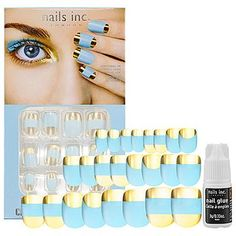 nails inc. Crystaltastic Nails Blue and Gold Foil