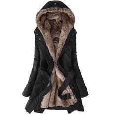 Zicac Women's Thicken Fleece Faux Fur Warm Winter Coat Hood Parka... ($65) ❤ liked on Polyvore