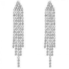 BRINCOS PENDENTES COM SWAROVSKI - Brincos com seis fios cravejados de cristais. Tamanho: 7cm x 1cm. Joia com banho de Ouro Branco 18K. Só R$ 65,00!!