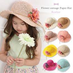 45b0ca9afd5f6 ... キッズファッション小物アパレル女の子UV対策夏服ナチュラルカジュアルストローハットボーダースカラップフリル中折れ帽つば広麦藁麦わら 帽子供帽子お出かけ