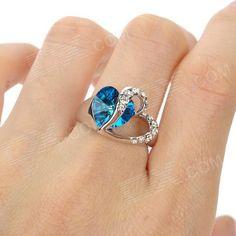 Anillo de las mujeres cristalinas de Heart-Shaped Rigant - zafiro azul + plata