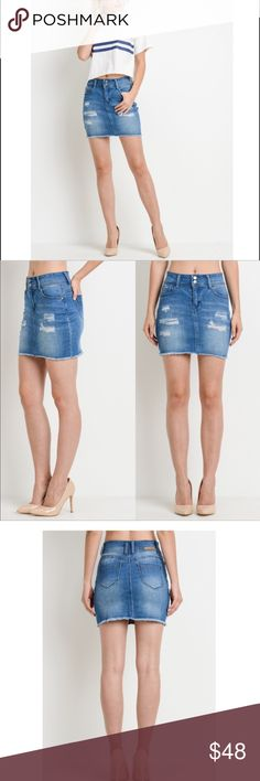 7db4a12ac5bef9 Distressed Denim Mini Skirt Jean skirts are finally back and this frayed  hem piece is what