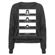 Sinking Girl. Black and white comic panel shirt