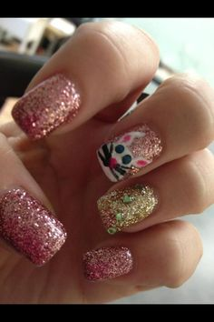 Easter Nails with Glitter by Vegas! #oliverfinley